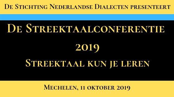 De Streektaalconferentie 2019 Banner
